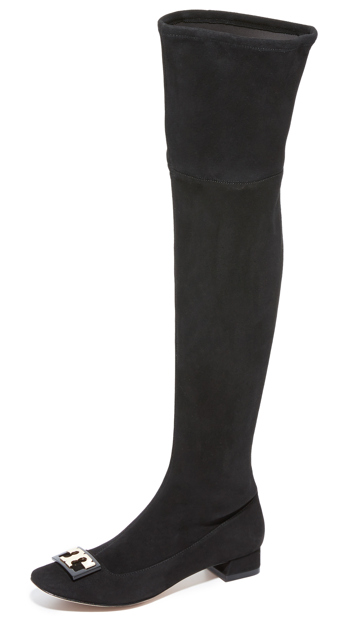 Sophisticated Tory Burch over the knee boots composed of panels of luxe, stretch suede. Logo accent at the toe and hidden zip at the ankle. Covered heel and leather sole. Leather: Goatskin. Imported, China. This item