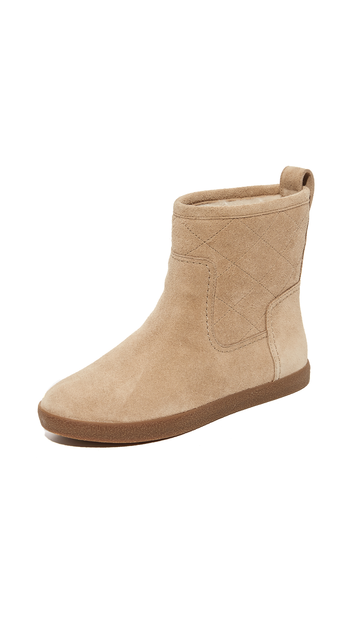 Tory Burch Alana Shearling Booties - Light Camel/Natural