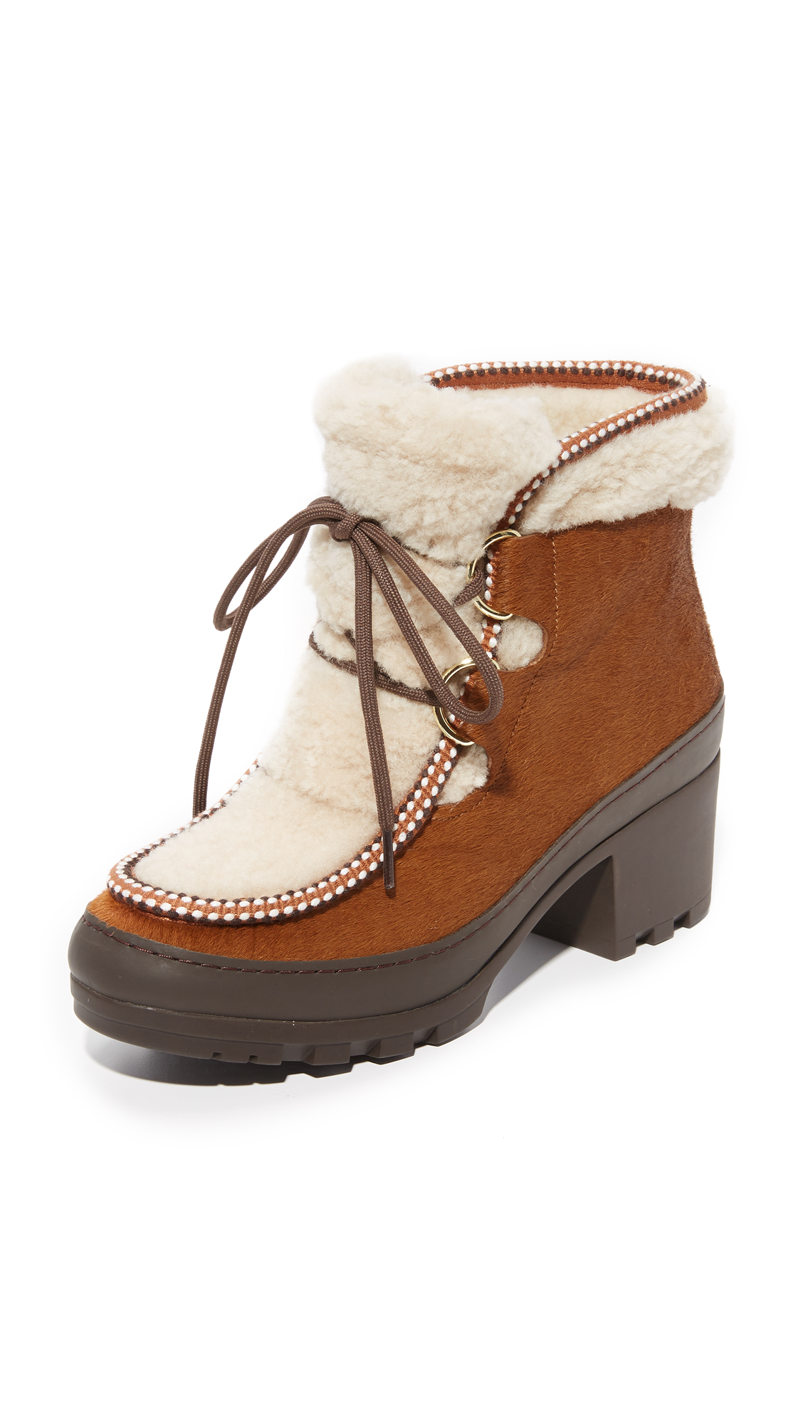 Tory Burch Berkley Shearling Booties - Derby Brown/Natural