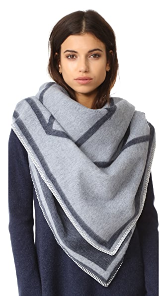 Tory Burch Fret Whipstitch Blanket Scarf - Navy