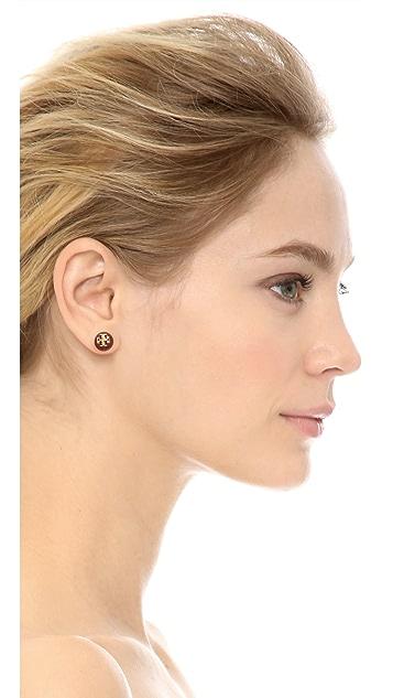 Tory Burch Crystal Imitation Pearl Stud Earrings