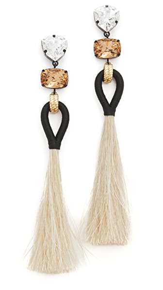 Tory Burch Hanging Tassel Earrings - Black/Natural