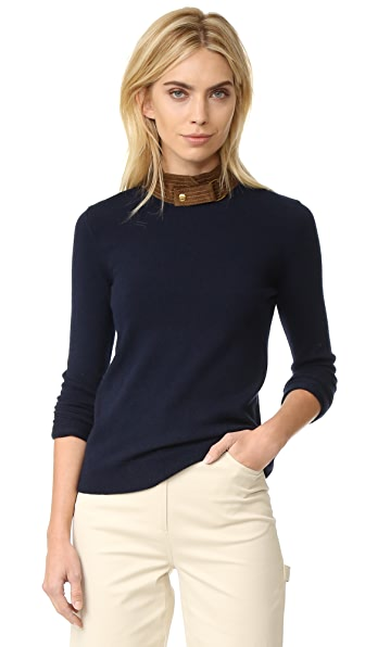 Tory Burch Flore Leather Collar Sweater - Midnight Navy