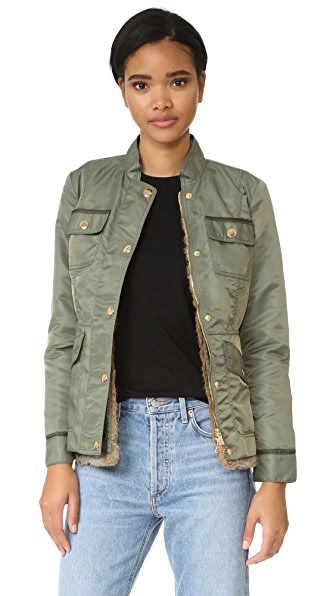 Tory Burch Sgt Pepper Fur Lined Jacket - Uniform Green