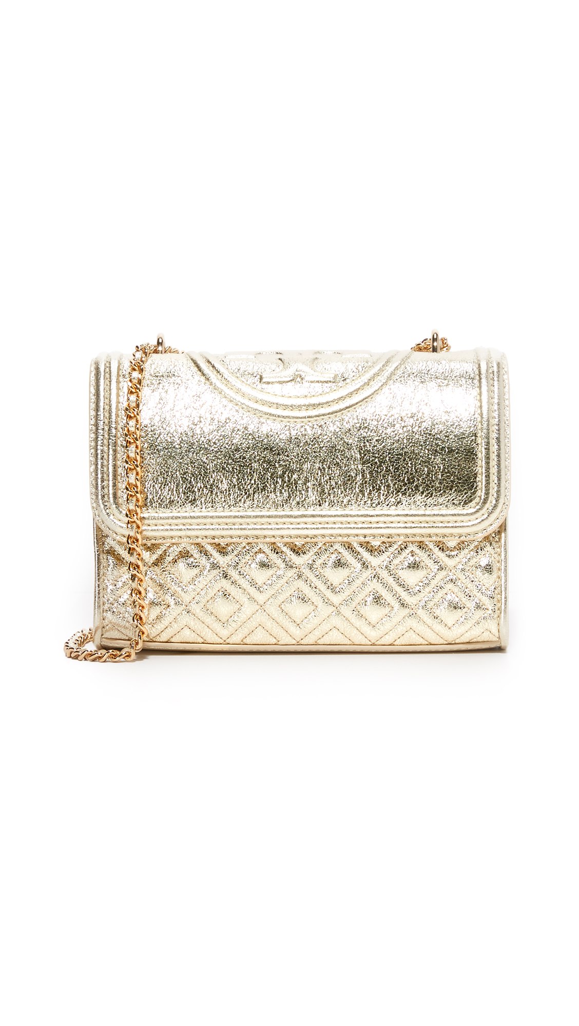 tory burch female tory burch small fleming convertible shoulder bag spark gold