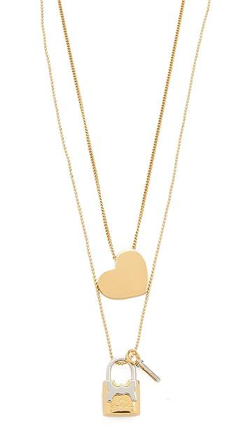 Tory Burch Metal Heart And Padlock Necklace Set
