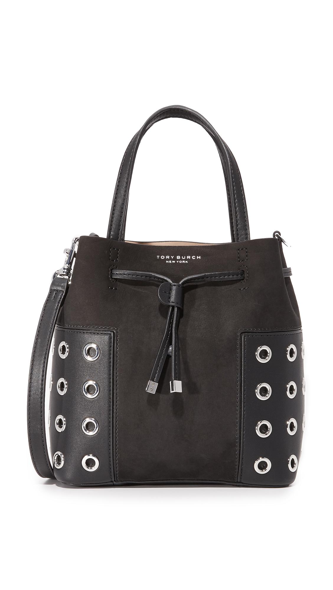 tory burch female tory burch block t grommet nano bucket bag black