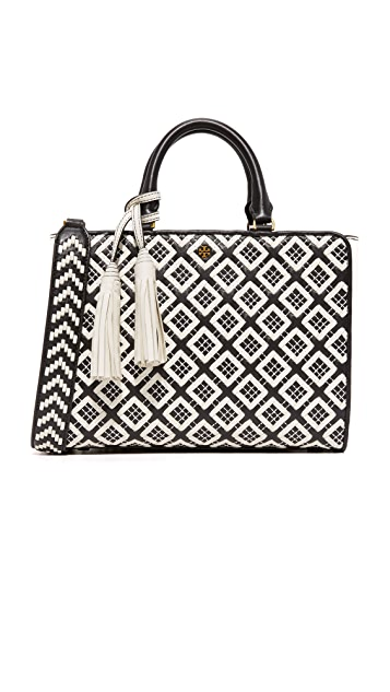 Tory Burch Robinson Woven Quilted Small Zip Satchel