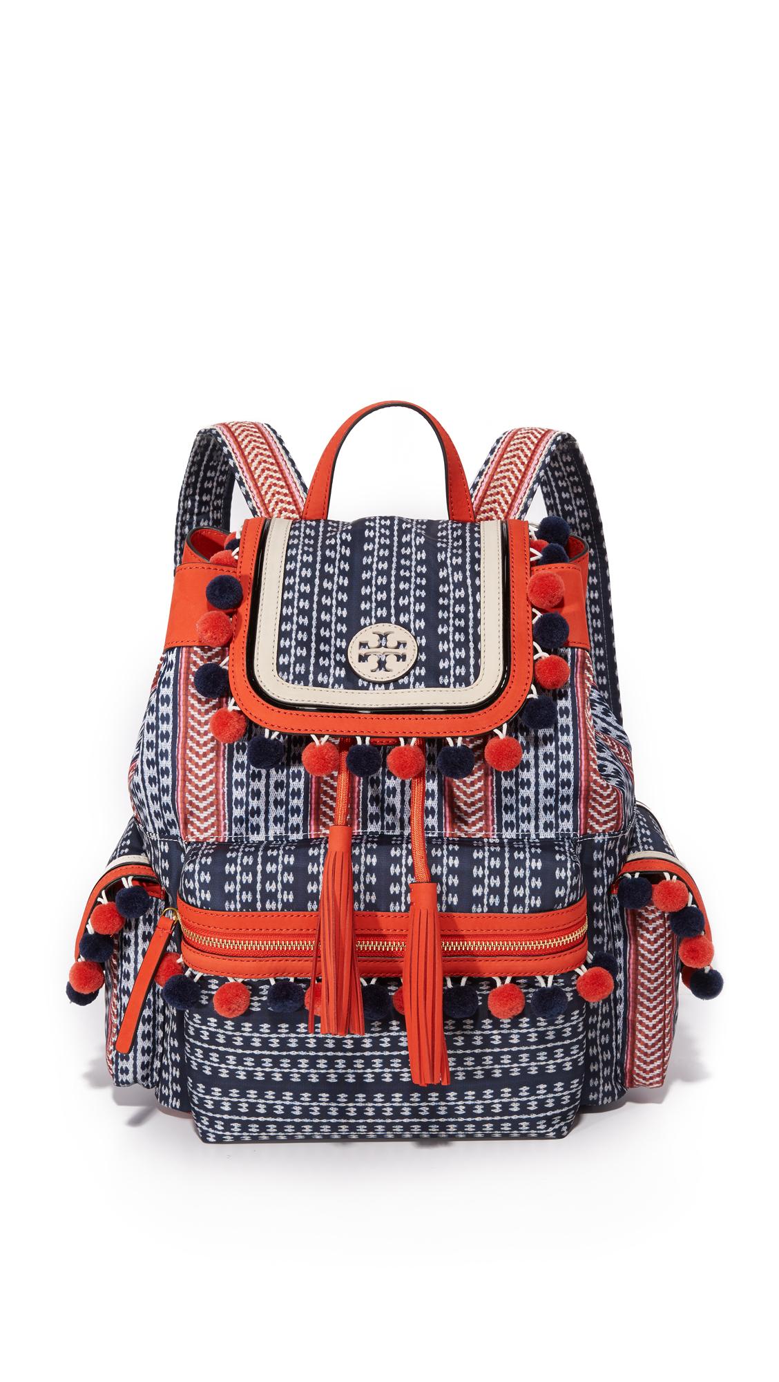tory burch female tory burch scout nylon pom pom backpack tory navymulti