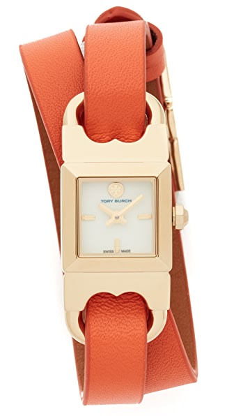 Tory Burch The Gemini Link Duo Strap Watch - Ivory/Gold/Luggage/Lilium