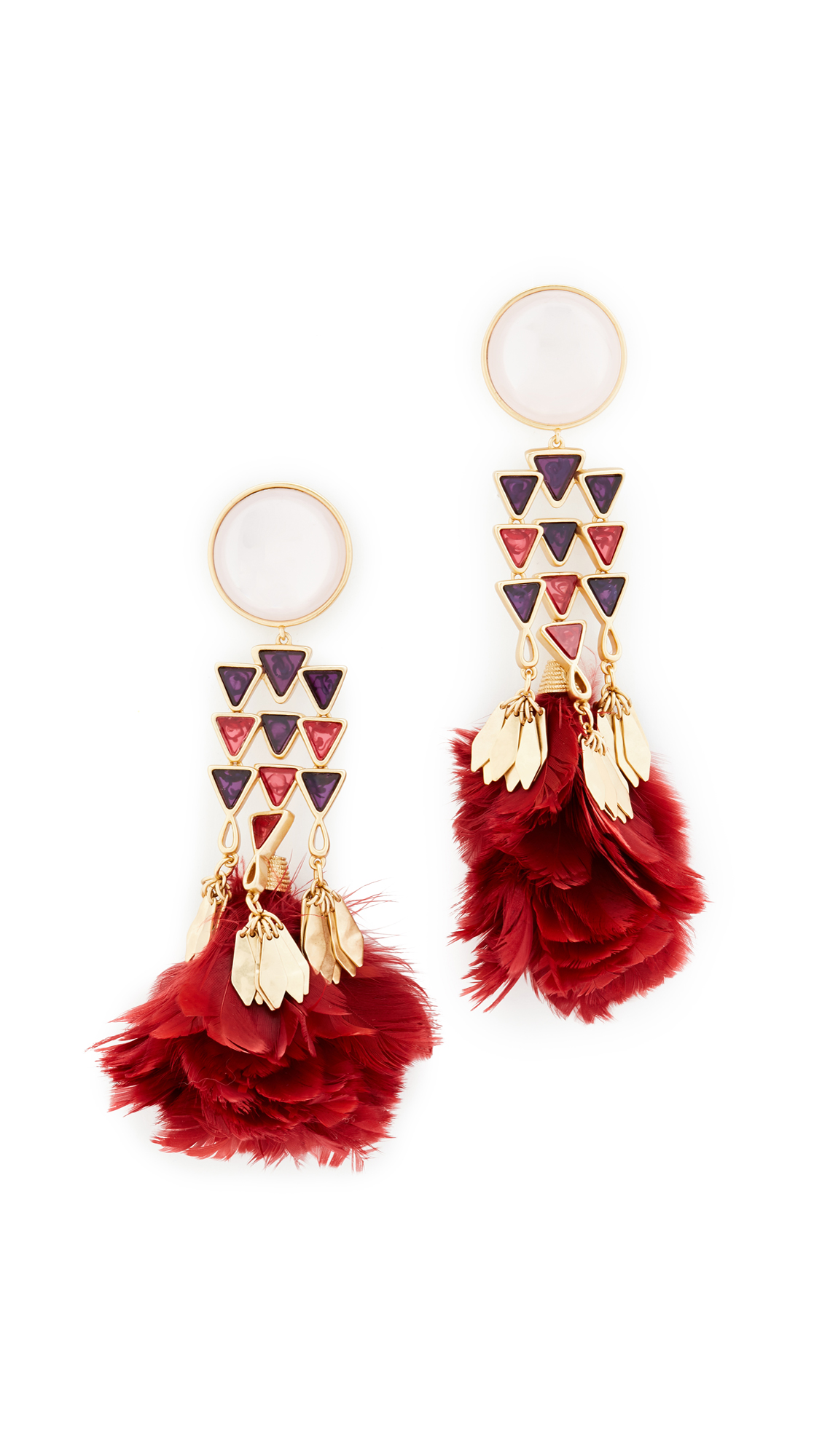 Tory Burch Tropical Creature Feather Chandelier Earrings | SHOPBOP