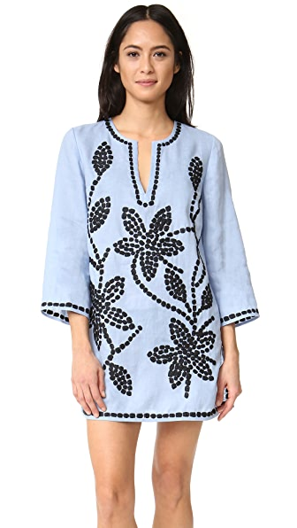 Tory Burch Solid Embroidered Tunic - Blue Lupine