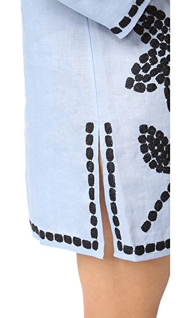 Tory Burch Solid Embroidered Tunic
