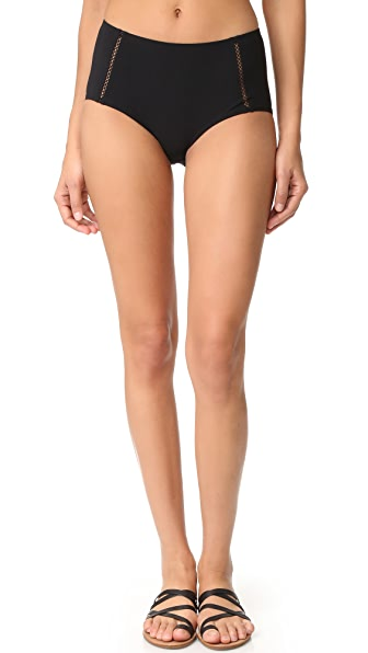 Tory Burch Solid Lattice High Waist Bottoms In Black