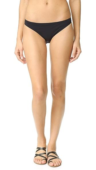 Tory Burch Solid Low Rise Bikini Bottoms In Black