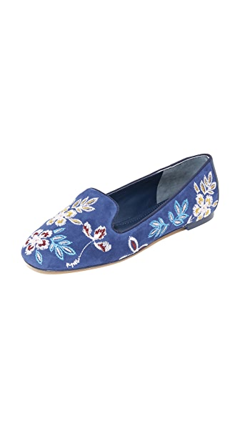 Tory Burch Embroidered Floral Smoking Slippers - Navy Sea
