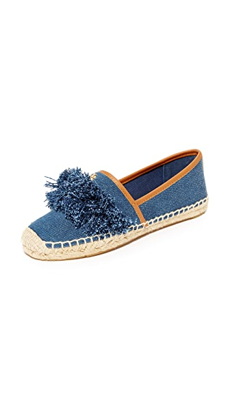 Tory Burch Shaw Denim Fringe Espadrilles - Blue Denim/Royal Tan
