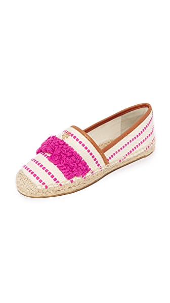 Tory Burch Shaw Fringe Espadrilles - Hibiscus Flower/Royal Tan