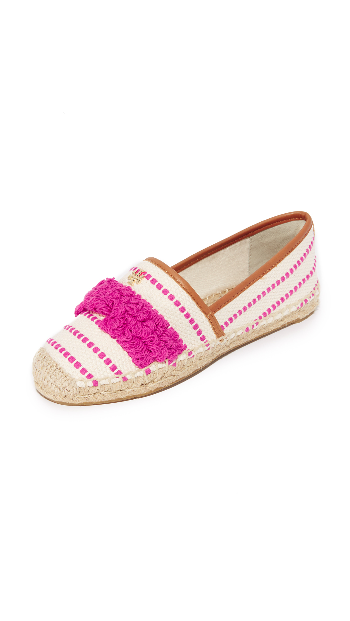 tory burch female tory burch shaw fringe espadrilles hibiscus flowerroyal tan