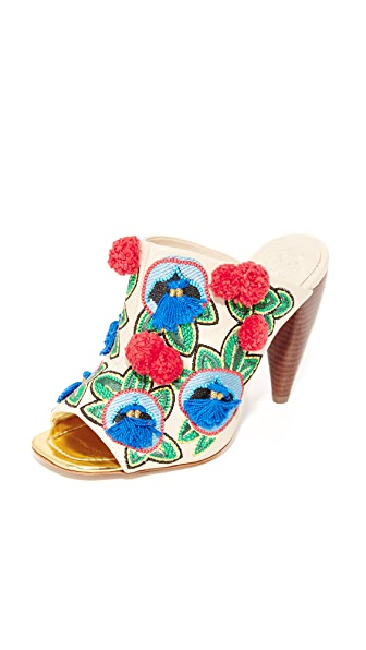 Tory Burch Ellis Embroidered Mules - Dulce De Leche