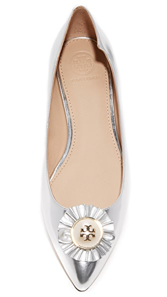 TORY BURCH 'Melody' Logo Pearl Metallic Leather Skimmer Flats