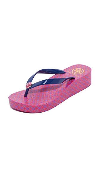 Tory Burch Wedge Flip Flops - Travel 4T/Navy Sea