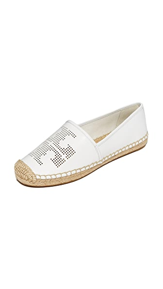 Tory Burch Perforated Logo Flat Espadrilles - White