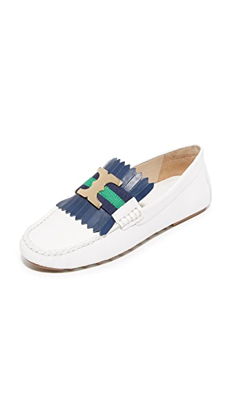 Tory Burch Gemini Link Driver Loafers - White/Navy Sea