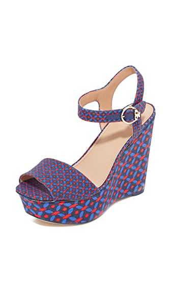 Tory Burch Haven Platform Sandals - Navy Sea Ocho Rios