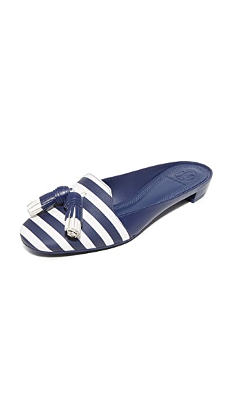 Tory Burch Maritime Tassel Mules - Nautical Stripe