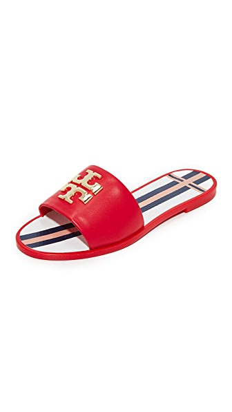 Tory Burch Logo Jelly Slides - Nantucket Red