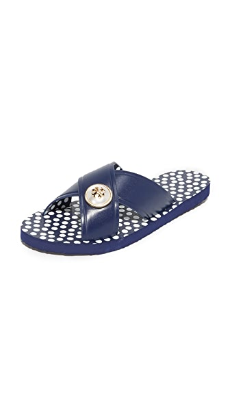 Tory Burch Melody Criss Cross Sandals - Navy Sea/New Ivory