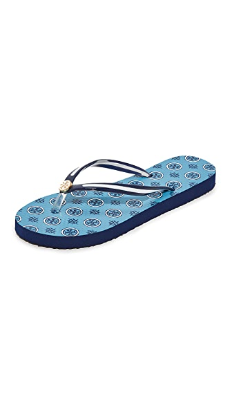 Tory Burch Thin Flip Flops - Coastline Blue Compass/Navy