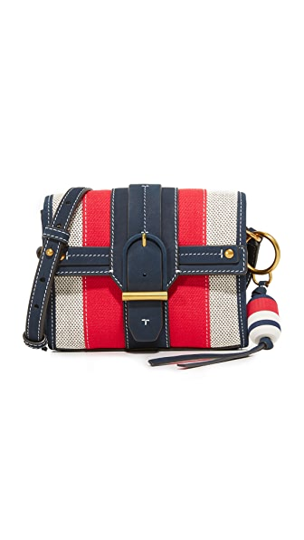 Tory Burch Striped Canvas Cross Body Bag