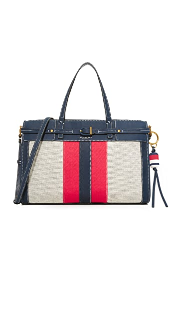 Tory Burch Striped Canvas Satchel