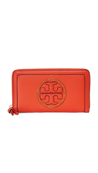 Tory Burch Studded Logo Zip Continental Wallet
