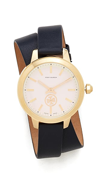 Tory Burch The Collins Leather Watch - Navy/Ivory/Gold