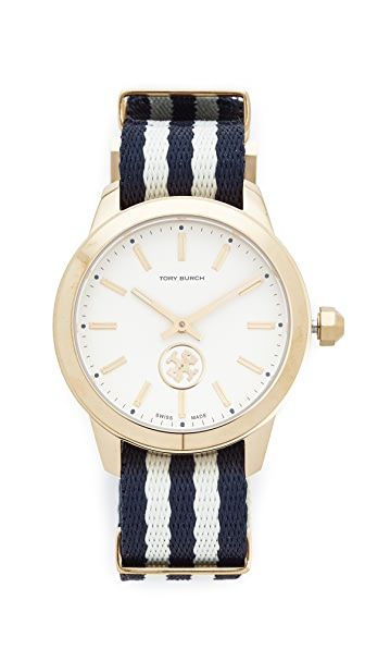 Tory Burch The Collins Grosgrain Watch - Navy/Ivory/Gold