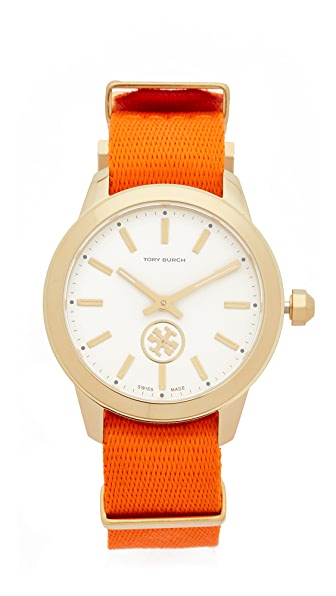 Tory Burch The Collins Grosgrain Watch - Orange Grove/Ivory/Gold
