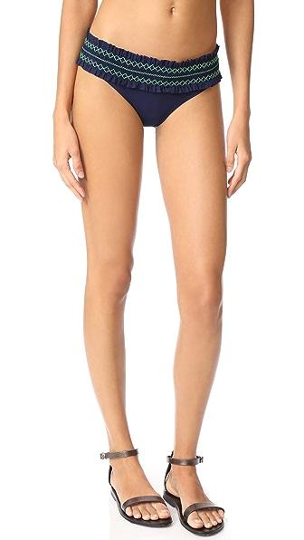 Tory Burch Costa Hipster Bikini Bottoms - Tory Navy/Court Green