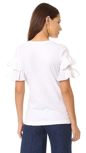 Tory Burch Lenox Ruffle T Shirt