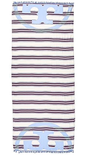 Tory Burch Via Stripe Logo Oblong Scarf