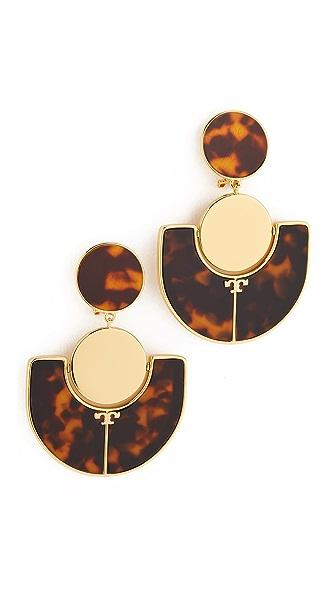 Tory Burch Art Deco Statement Clip On Earrings