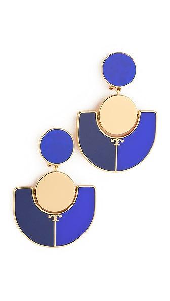 Tory Burch Art Deco Statement Clip On Earrings - Pottery Blue/Falleria Blue
