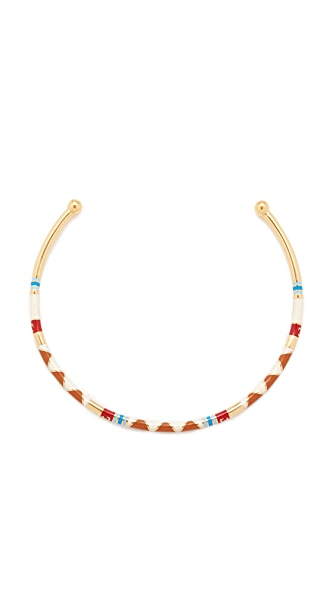 Tory Burch Geo Striped Collar Necklace In Red Volcano/Tory Gold