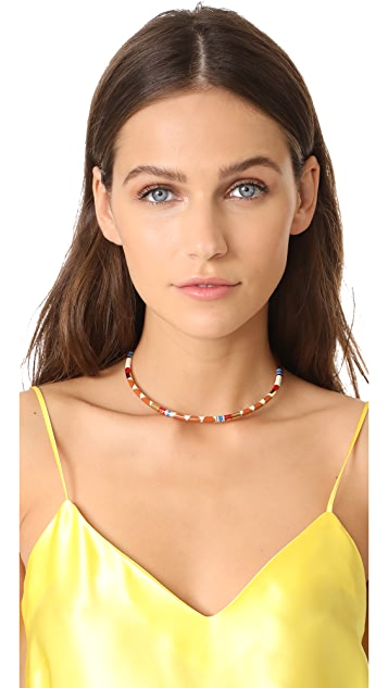 Tory Burch Geo Striped Collar Necklace