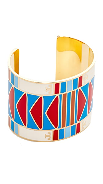 Tory Burch Geo Wide Cuff Bracelet In Red Volcano/Tory Gold