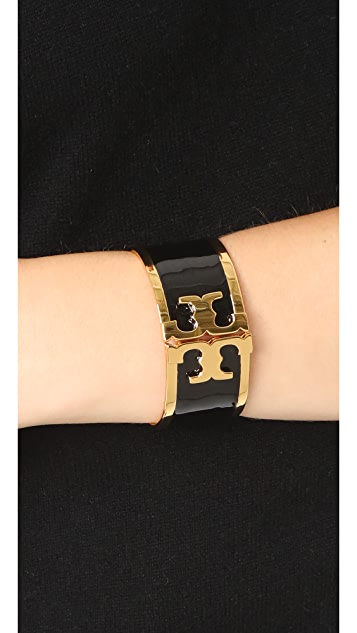 Tory Burch Enamel Raised Logo Wide Cuff Bracelet