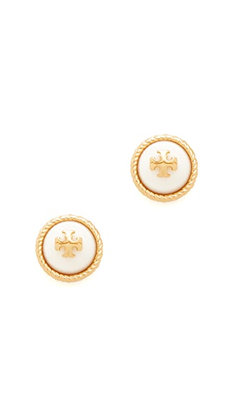 Tory Burch Rope Imitation Pearl Stud Earrings - Ivory/Tory Gold