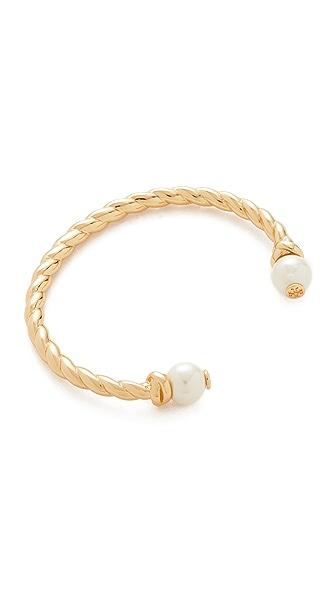 Tory Burch Rope Logo Bead Hinge Bracelet